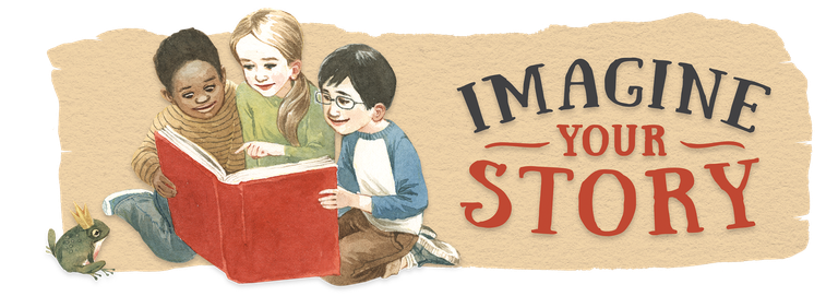"""imagine your story"" text with 3 children reading"